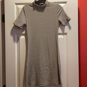 Cute mock neck striped dress